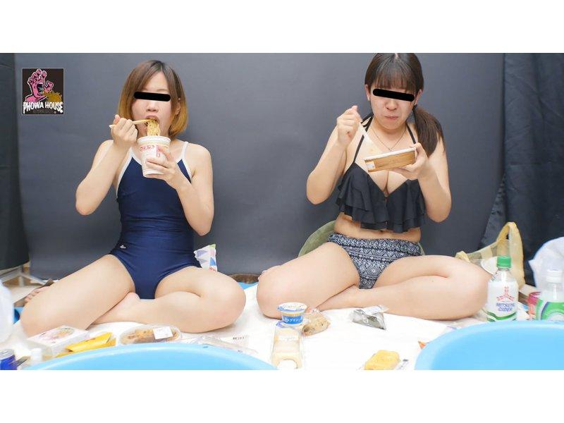 水着で限界飲食 まんぷくゲロ 1